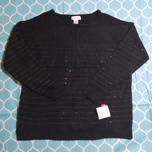 Liz Claiborne Black Sequin Stripe Tunic Size XX-L